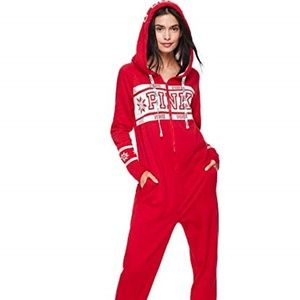 Victoria's Secret PINK Sherpa Onesie RED SMALL